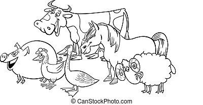grupo, de, caricatura, cultive animais, para, coloração