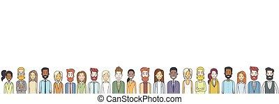 grupo, de, casual, gente, grande, multitud, diverso, étnico, horizontal, bandera