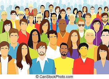 grupo, de, casual, pessoas, rosto, grande, torcida, diverso,...