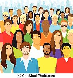 grupo, de, casual, pessoas, rosto, grande, torcida, diverso