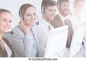 grupo, de, centro de la llamada, trabajadores