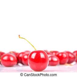 grupo, de, cerezas, aislado, blanco