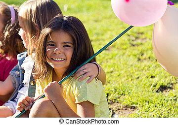 grupo, de, childrens, tendo divertimento, em, a, park.