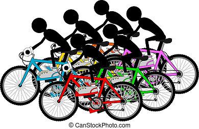 grupo, de, ciclistas