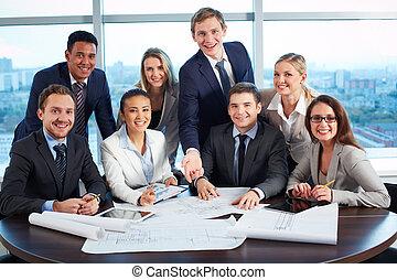 grupo, de, colegas trabalho