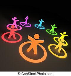 grupo, de, colorido, pessoas
