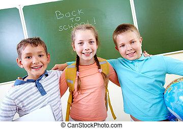 grupo, de, compañerasde escuela