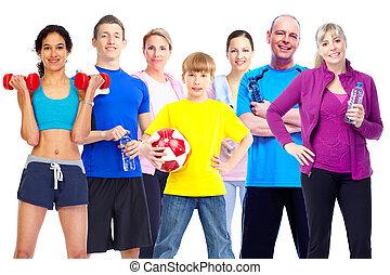 grupo, de, condición física, personas.