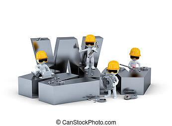 grupo, de, construcción, workers/builders, con, www, signo., sitio web, edificio, o, reparación, concept., aislado, blanco, plano de fondo
