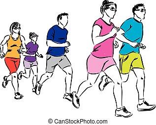 grupo, de, corredores, ilustração