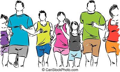 grupo, de, corredores, vetorial, ilustração