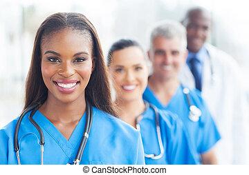grupo, de, cuidados de saúde, trabalhadores