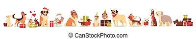 grupo, de, cute, cachorros, em, santa, chapéus, símbolo, de, 2018, ano novo, e, natal, feriados, isolado, branco, fundo