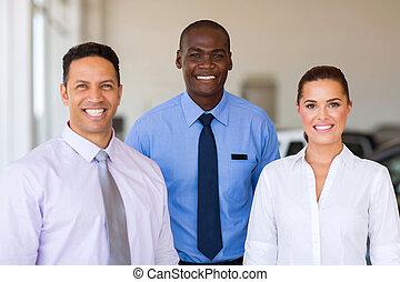 grupo, de, dealership carro, pessoal