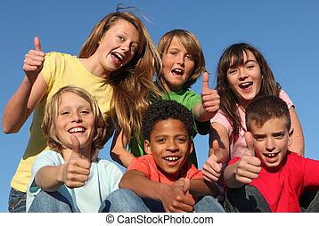 grupo, de, diverso, carrera, niños