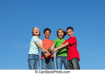 grupo, de, diverso, crianças, ou, adolescentes