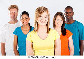 grupo, de, diverso, gente, retrato