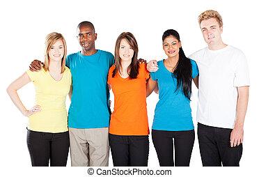 grupo, de, diverso, pessoas, isolado, branco