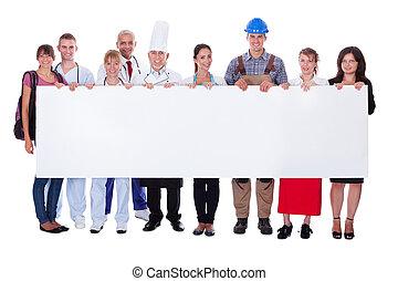 grupo, de, diverso, profesional, gente, con, un, bandera