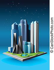 grupo, de, edificios