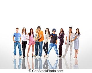 grupo, de, el, joven, sonriente, students., encima, fondo blanco