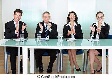 grupo, de, emprego, recrutamento, oficiais