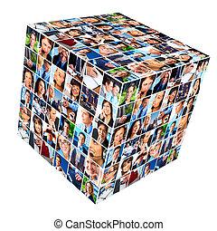 grupo de empresarios, collage.
