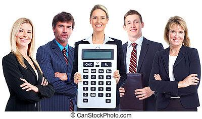 grupo de empresarios, con, calculator.