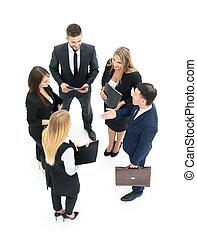grupo de empresarios, discutir., aislado, blanco, backgroun