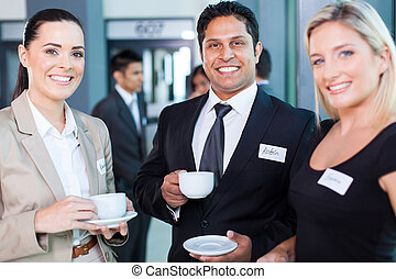 grupo de empresarios, durante, conferencia