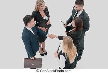 grupo de empresarios, elaboración, handshake., aislado, blanco, bac