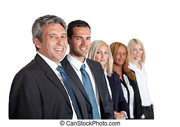 grupo de empresarios, en una línea
