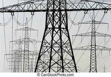 grupo, de, energía eléctrica, postes
