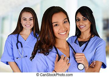 grupo, de, enfermeiras