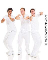 grupo, de, engraçado, homens jovens