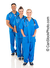 grupo, de, equipe médica, ficar, uma fileira