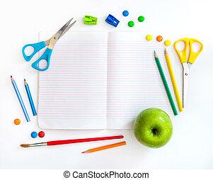 grupo, de, escola, objetos, ligado, um, fundo branco