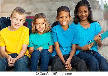 grupo, de, escola primária, estudantes