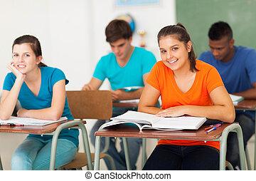 grupo, de, escola secundária, estudantes, em, sala aula