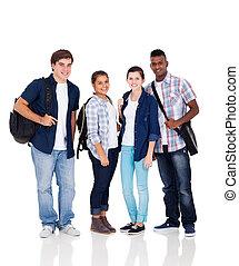grupo, de, escola secundária, estudantes