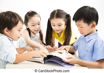 grupo, de, escolares, estudiar, juntos