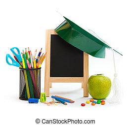 grupo, de, escuela, objetos, en, un, fondo blanco
