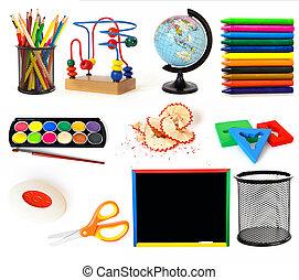 grupo, de, escuela, objetos