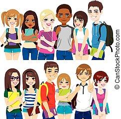 grupo, de, estudantes