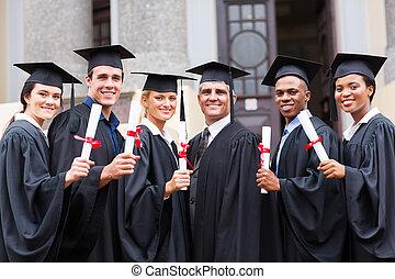 grupo, de, faculdade, diplomados, e, professor