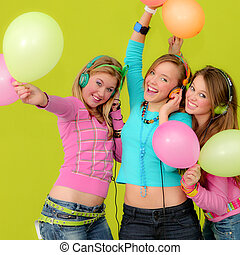 grupo, de, feliz, adolescentes, em, partido