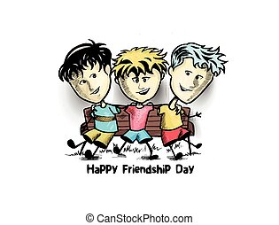 grupo, de, feliz, amigos, desfrutando, amizade, day., caricatura, mão, desenhado, esboço, vetorial, experiência.