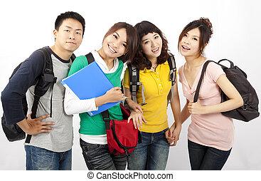 grupo, de, feliz, amigos, sorrindo