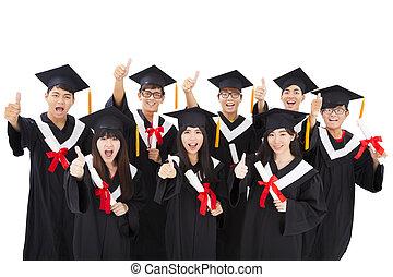 grupo, de, feliz, asiático, estudiantes, celebrar, graduación