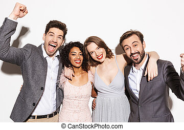 grupo, de, feliz, bien vestido, multiracial, gente